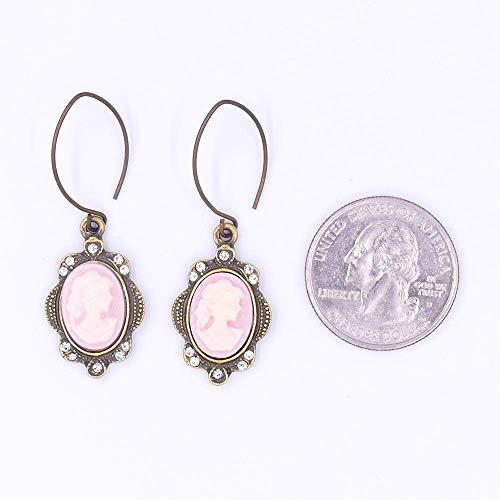 Cameo Leaf Dangle Earrings Soft Pink Cream Vintage Gold White Rhinestone Antique -