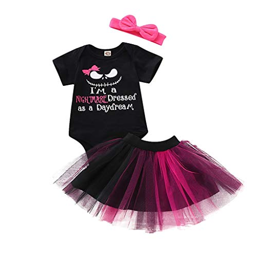 3-Pieces Infant Baby Girls Cotton Halloween Romper Tutu Skirt Dress Costume Set Outfits Sets Clothes (0 Month-18 Months)