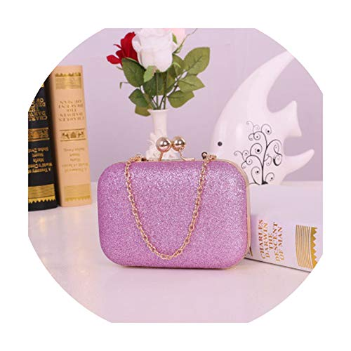 (Women Handbag Evening Bag Chain Shoulder Bag Gold Day Clutch Box Bag,Light Purple)