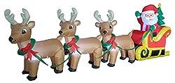8 Foot Long Christmas Inflatable Santa on Sleigh with 3...