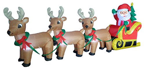 8 Foot Long Christmas Inflatable Santa on Sleigh with 3 Reindeer and Christmas Tree Yard Decoration