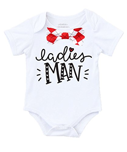 Noah's Boytique Baby Boy Valentines Day Outfit With Red Argyle Bow Tie Ladies Man Cute First Valentines Shirt 3-6 Months