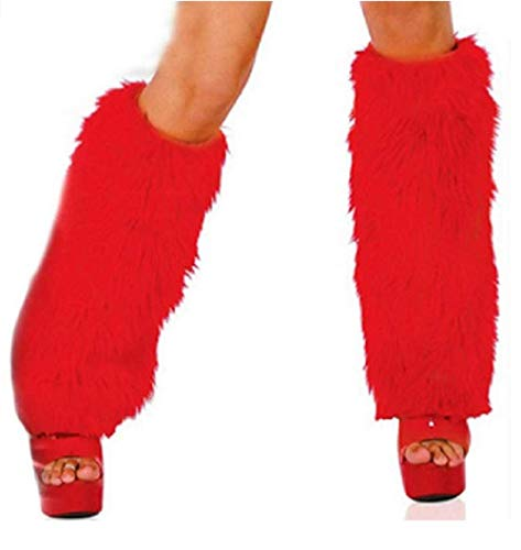 (Hankyky 3Color Sexy Faux Fur Leg Warmers Rave Fluffies Lady Boot Cover Santa Christmas)