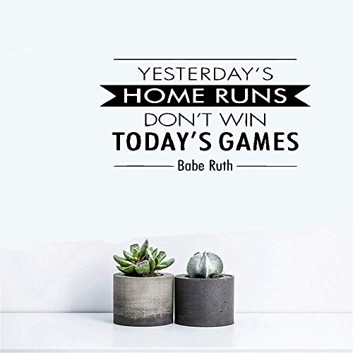 Wall Stickers Art DIY Removable Mural Room Decor Mural Vinyl Yesterday's Home Runs Don't Win Today's Games Babe Ruth for Bedroom Living Room Home Decor -