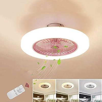 Ventilador de techo con iluminación Redondo Rosa rosa Luz del ...