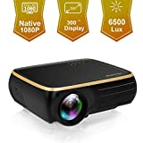 HOLLYWTOP Professional M8 Native 1080P Full HD LED Projector, 6500 Lux HDMI Projector with 300