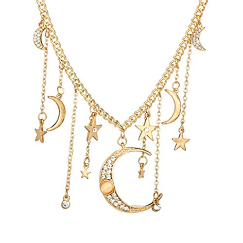 (Boho Gold Crystal Star Moon Pendant Necklace for Women Charms Choker Jewelry Gold)