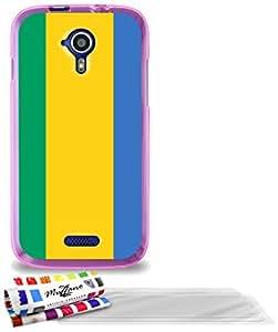 """Carcasa Flexible Ultra-Slim WIKO CINK FIVE de exclusivo motivo [Gabon Bandera] [Rosa] de MUZZANO  + 3 Pelliculas de Pantalla """"UltraClear"""" + ESTILETE y PAÑO MUZZANO REGALADOS - La Protección Antigolpes ULTIMA, ELEGANTE Y DURADERA para su WIKO CINK FIVE"""