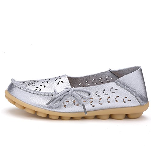 Lucksender Womens Out Hollow Out Carving Casual Leather Driving Mocassini Piatti Scarpe Argento