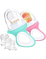 2 PCs Baby Food Fruit Feeder Pacifier with 3 PCs Replacement Silicone Pouches Fresh Food Teething Toy for Toddlers Infant
