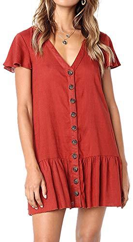 LunaJany Women's Cotton Short Sleeve V Neckline Button Swing Beach Dress
