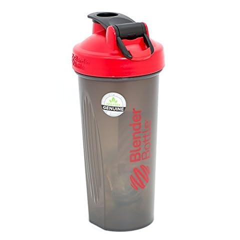 BlenderBottle Full Color Bottles - New Black Translucent Color with Shaker Ball - Red - 28oz (Special Needs Exercise)