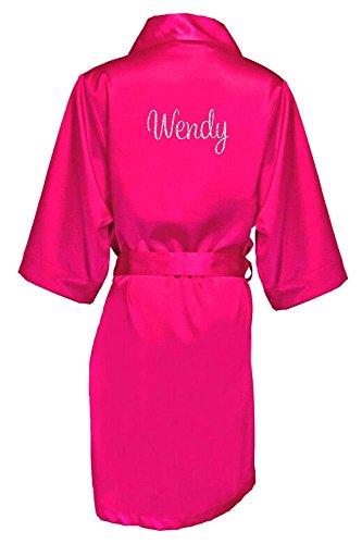 Women's Hot Pink Satin Custom Name in Glitter Robe S/M -