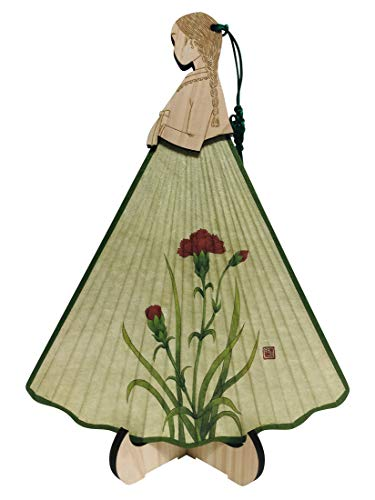 Korean Paper Art - Carved Cypress Wood Girl Wearing Korean Hanbok Dress Handmade Mulberry Rice Paper Bamboo Art Handheld Decorative Wedding Party Gift Hand Fan with Wood Stand (Carnation)