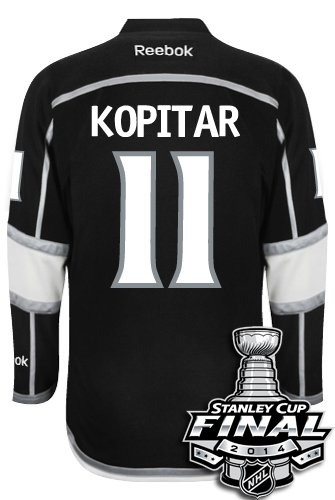 Los Angeles Kings Anze KOPITAR #11 Official 2014 Stanley Cup Home Reebok NHL Hockey Jersey With 2014 Cup Patch (SEWN TACKLE TWILL NAME / NUMBERS)