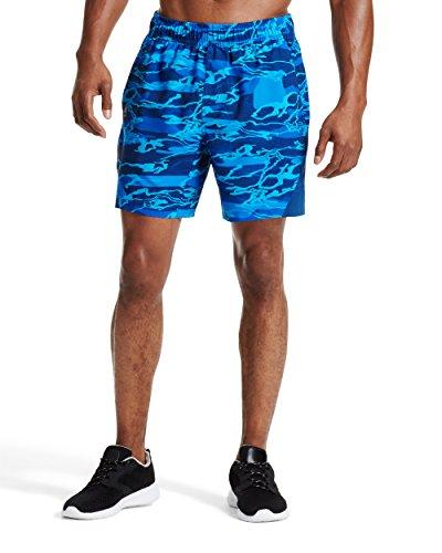 """Mission Mens VaporActive Fusion 7"""" Athletic Shorts, Matrix Camo Lapis Blue, Small"""