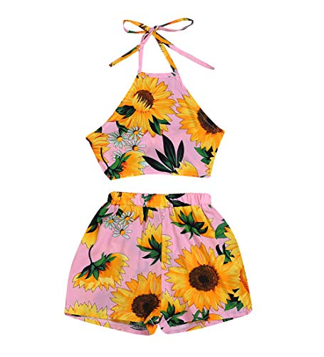 MA&BABY Baby Girls Halter One-Pieces Romper Jumpsuit Sunsuit Outfit Clothes 0-24M (2-3 Years, Sunflower 2) ()