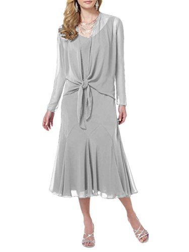 ModeC Two Piece Chiffon Bridal Mother of The Bride Dress Formal Midi Church Gown Silver US14