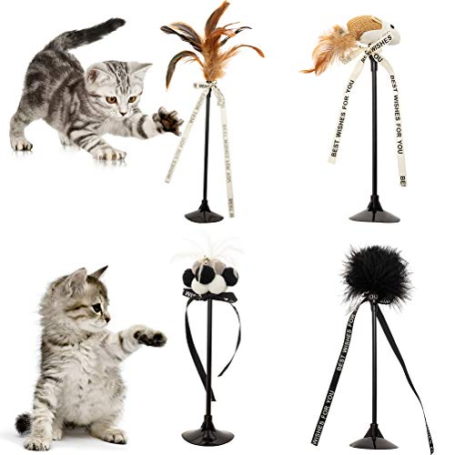 Interactive Cat Toy Teaser Wands with Suction Cup and Bell 4 Pcs Cat Feather, Mouse Toys