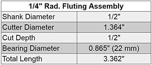 1PC 1//2 SH 1//4 radius Flute Assembly Router Bit /& 4 Cutters Set