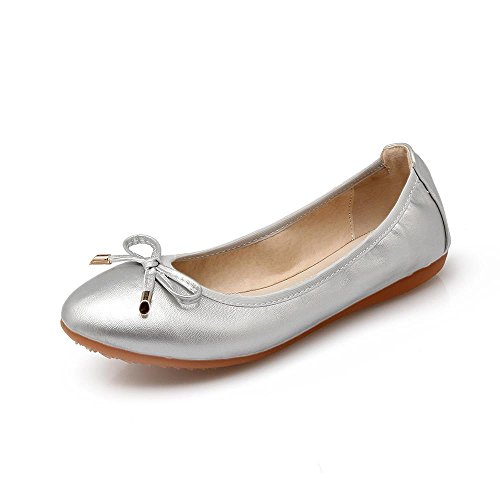 LIURUIJIA Flats Slip Ballet Womens Shoes4PD Leather Toe B1 Classic Flat 628 Pointy Silver On BSYYwrqX