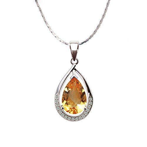 iSTONE Natural Gemstone Citrine Crystal Tear Drop Penadant Necklace 925 Sterling Silver Chain 16 inch