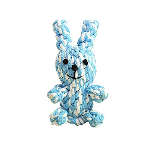 Dog Knot Rope Chew Toy, Aolvo Cotton Rope Rabbit Teeth Cleaning Braided Animal Toy for Puppy Dogs, 100% Natural & Safe Woven Rabbit Interactive Pet Toy for Indoors and Outdoors Training - Random Color