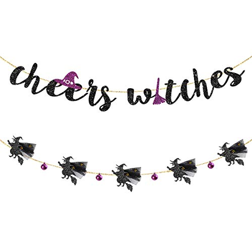 Happy Halloween Black Witch (Halloween Garland Kit Black Purple Cheers Witches Garland and Flying Witches with 3D Tulle Cloak and Bell Banner for Happy HalloweenBirthday Bachelorette Engagement Hen Party Decorations)