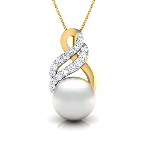 14K Or blanc 0,15CT TW Round-cut-diamond (IJ | SI) et perle Pendentif