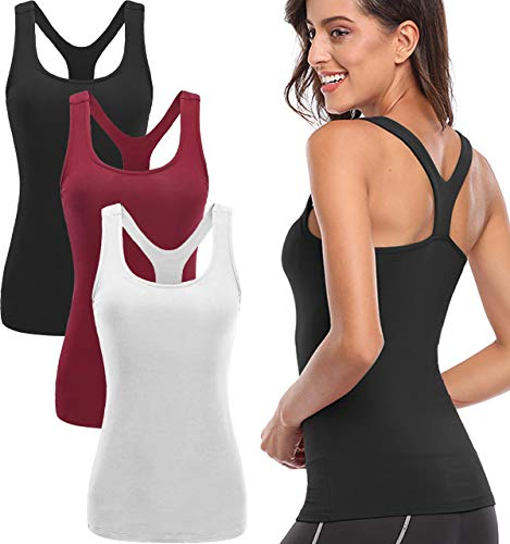 TELALEO Tank Tops for Women, Womens Quick-Drying Workout Tank Tops Clothes for Women Yoga Basic 3 Pack White/Black/Red-XL