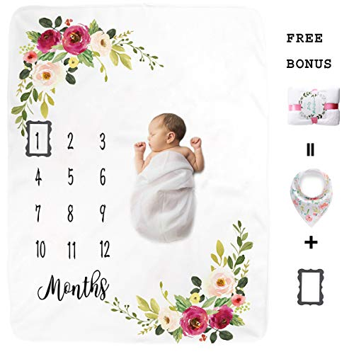 Premium Fleece Baby Monthly Milestone Blanket for Boy Girl | Large Personalized Photography Background Blankets | Thick Flannel for Mom Newborn Bib + Frame(Gift Packaging