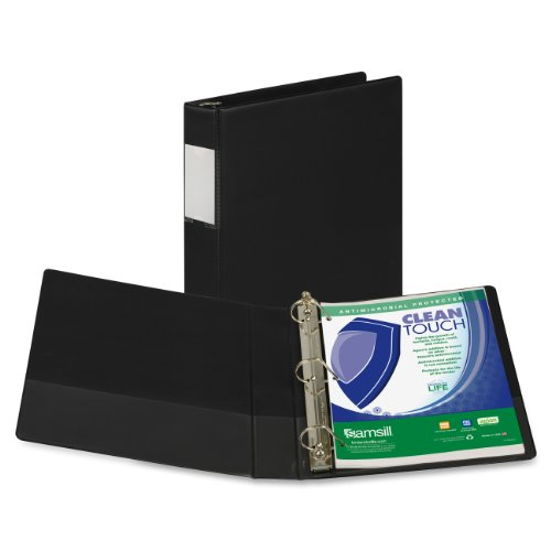 Samsill 16350 Clean Touch 3 Ring Binder, Protected by Antimicrobial Additive, 1.5 Inch Capacity, Reference Binder with Label Holder, Locking D-Ring, Black