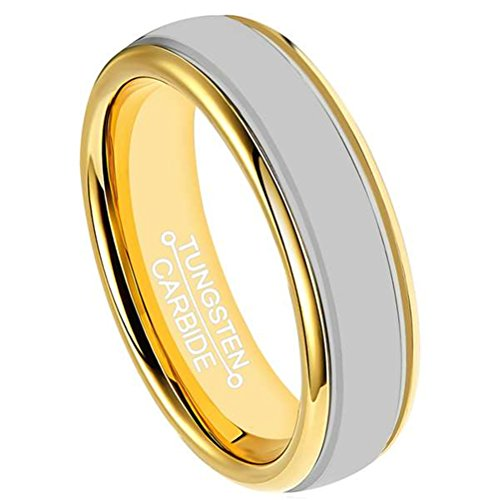 Mens 6mm Tungsten Carbide Ring 18k Gold Plated Wedding Engagement Band Domes Design High Polished Comfort Fit ()