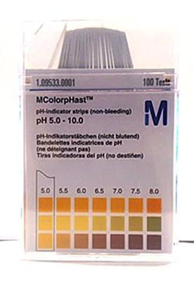 pH Tester Strips (100 Count) - Body Acid / Alkaline Test - Range pH 5.0 - 10.0 - EMD ColorpHast, 1 pack