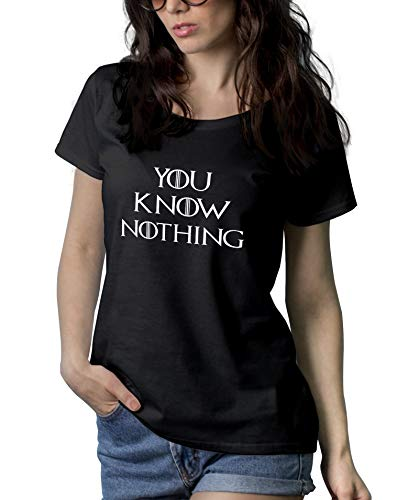 Woman Black Game TV Series of Thrones Merch Tee Shirt | U Know Nothing, XL ()