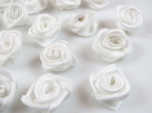 12 Mm Ribbon (60pcs Satin Ribbon Flower Rose/trim/sewing (White))
