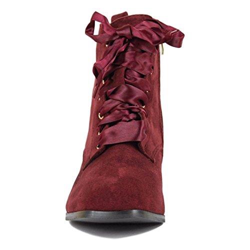 Buonarotti Botín Rojo de Tacón con Lazo de Raso. Rojo