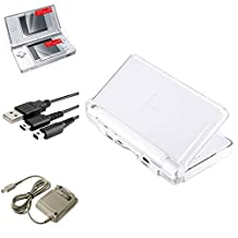 Insten Crystal Case Cover + Charging Cable + Travel Charger + 2-LCD Protector Compatible with Nintendo DS Lite