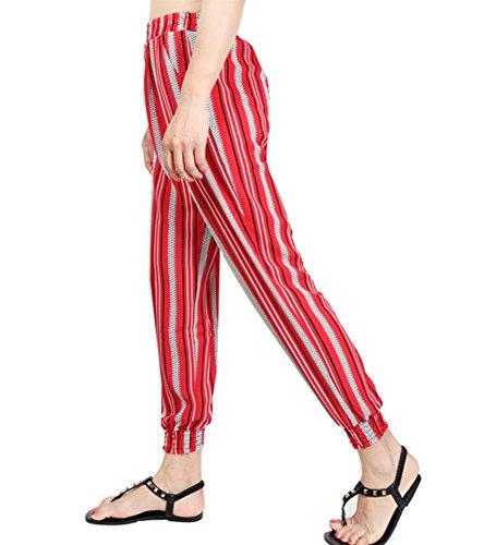 Pantalone Verticali Strisce A Rosse Fiato Con Donna Vita Harem Harem rn6xwqp80r