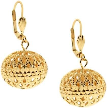 1.5 Inch Filigree Brass Gold Plated Brass 20mm Ball Dangle Earrings