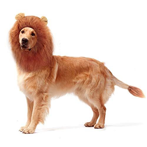 (Nochim Dog Lion Mane Funny Big Pet Head Collar Fake Fur Wigs with Ears & Tail, Elastic Adjustable Dog Festival Party)