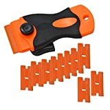 OFKPO 10 PCS Plastic Razor Blade Safety Decal Scraper Double-Edged Light Plastic Blades for Film Stickers, Glue, Car Home Tinting