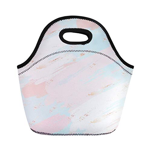 Semtomn Lunch Tote Bag Pink Pastel Abstract Blush Blemishes Brush Color Cosmetic Creative Reusable Neoprene Insulated Thermal Outdoor Picnic Lunchbox for Men Women