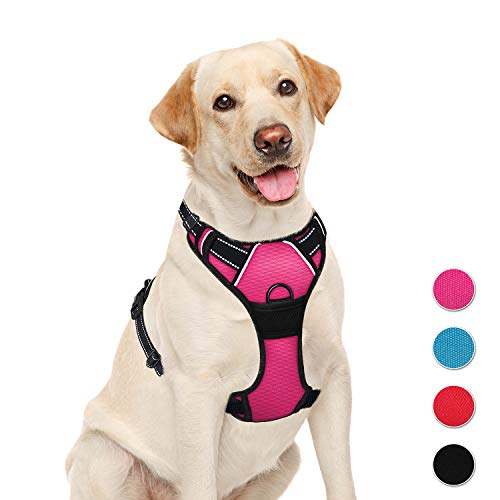 BARKBAY No Pull Pet Harness  Dog Harness Adjustable Outdoor Pet Vest 3M Reflective Oxford Material Vest for PINK Dogs Easy Control for Small Medium Large Dogs (L)