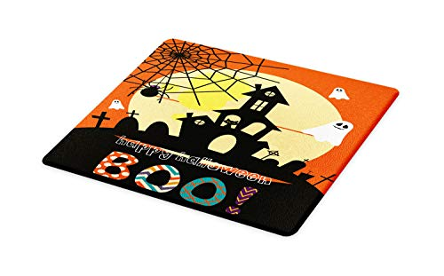 (Lunarable Halloween Cutting Board, Haunted House with Cat Tombstones Ghosts and Spider Webs Happy Halloween Boo, Decorative Tempered Glass Cutting and Serving Board, Large Size, Multicolor)