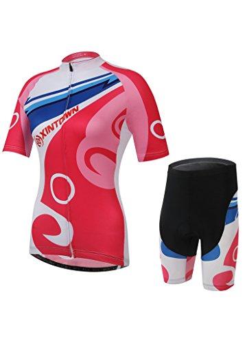 Damen Radsport Fahrrad Rad kurz Anzug Trikot Set Bekleidung Radhose rot S