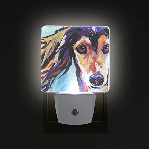 (Saluki Hound LED Night Lights with Auto Dusk to Dawn Sensor, Plug-in Warm White Wall Lights for Kids Room)