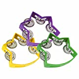 Set of 3 Small Star Tambourines with 4 Jingles (5.5x4.5in)