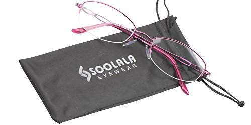SOOLALA Womens Stylish Reader Eyeglass Semi-rimless Exquisite Alloy Frame Reading Glasses, Purple, - For Eyeglass Wide Best Faces Frames