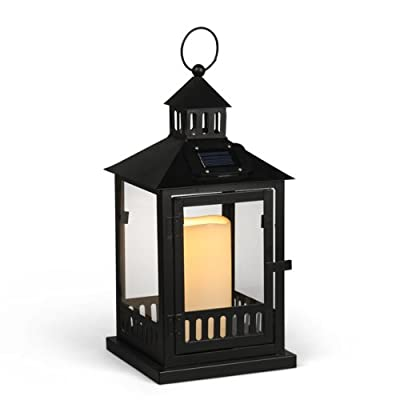 Gerson 14-Inch Black Metal Fence Solar Lantern with One Candle